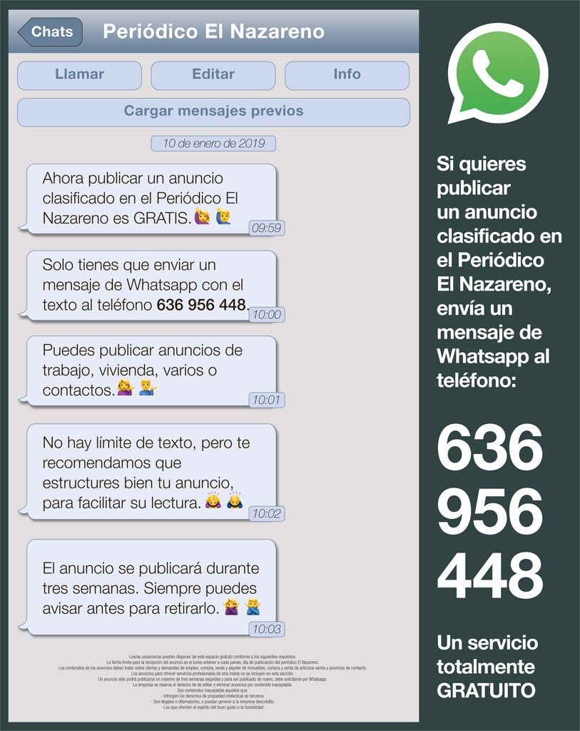 174a380acfeb Los anuncios clasificados en El Nazareno son gratuitos a partir de ahora